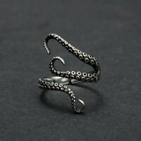 2017 Men Punk Titanium Steel Gothic Deep Sea Octopus Finger Open Ring