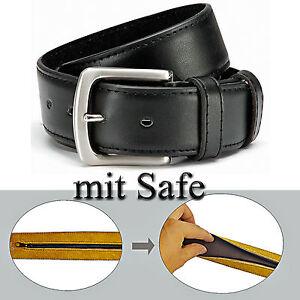Gürtel mit GÜRTELSAFE - 4 cm breit Tresorgürtel Geldgürtel Safegürtel mit Leder