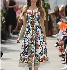 Modern Vintage Occident runway Printed fashion buttons Condole belt dress SMLXL