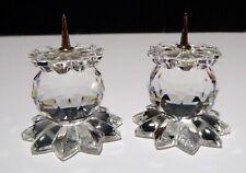 "*Vintage* Swarovski Crystal Set 2 Pin Candle Holders (1978-1981) 1"" 7600 Nr 131"