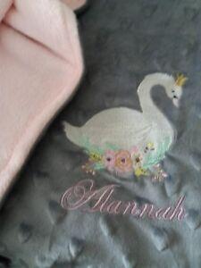 Personalised Super Soft Grey Fleece Baby Blanket beautiful swan princess pink