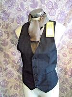 "funky Steampunk/TrueVintage mens/unisex BLACK WOOL Waistcoat-Size34"""