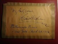 David Bisham (1857-1921) American Baritone Philharmonic NY Signed inscribed page