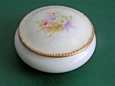Pale Green Hand Painted Porcelain Round Trinket Jewellery Box Container