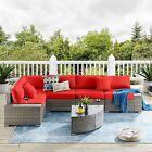 Red Outdoor Patio Sectional Furniture Pe Wicker Rattan Sofa Set Garden Yard