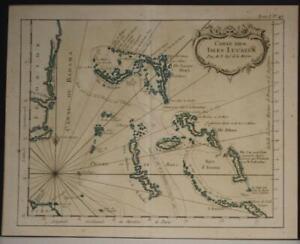 BAHAMAS & FLORIDA UNITED STATES 1750 JACQUES NICOLAS BELLIN ANTIQUE ORIGINALMAP