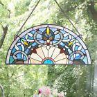 Tiffany Style Stained Glass Semi Circle Blue Hues Window Panel Suncatcher