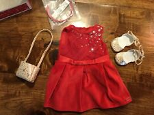 New In Box American Girl Doll Truly Me 'Tis The Season Party Dress Shoes Purse