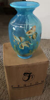 "FENTON ART GLASS KOI BLUE LAGOON ""GOOD FORTUNE""  VASE  FAMILY SIGNATURE 2009"