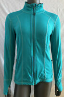 Tangerine Full Zip Mock Neck Mismatched Panel Thumbhole Teal Jacket Women Sz Med