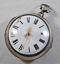 Massive c. 1809 N. Preston London Fusee Pocket Watch, Sterling Silver Pair Case
