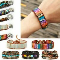 7 Chakra Natural Stone Crystal Tube Beads Bracelet Leather Wrap Bangle Jewelry