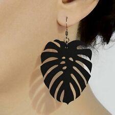 New Fashion Simple Style Black Leaf Drop Earrings For Women Punk Rock