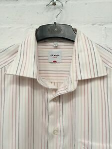 """Olymp Luxor White Mix Striped Shirt Short Sleeve Button Up Size 17.5"""" Collar #CE"""
