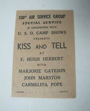 WWII US Army USO Camp Shows Program 530TH AIR SERVICE Group Special Service