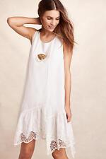 NEW Anthropologie   Sz M  Isabella Sindair White Cotton Lace Hem Dress