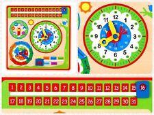 Children's Kids Reloj Calendario De Madera Juguete Educativo Aprender Hora Fecha & Tiempo