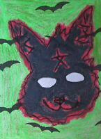 ACEO Halloween Blair Witch Bunny Abstract Folk Outsider Autism Pop Art Drawing