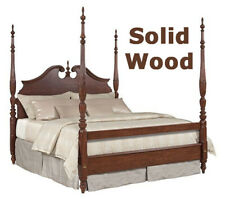 Traditional Cherry Mahogany 4 Post Rice Bed - Solid Wood - Split Pediment -Queen