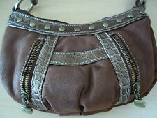 Kathy Van Zeeland Purse & Cell Phone/ID Wallet - Brown Snakeskin and Gold Studs