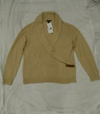New Lands End Wool blend Shawl neck sweater size XL Dark Sand Heather