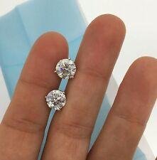 14K White Gold Diamond Stud Earrings 4 Carat D VS1 Round Eye Clean Enhanced XMAS