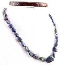165.50 CTS NATURAL UNTREATED SINGLE STRAND RICH BLUE TANZANITE BEADS NECKLACE