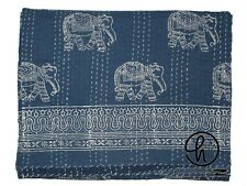 Elephant Print Kantha Quilt King Size Blanket Blue Color Bedspread Cotton Throw