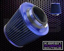 """3""""Universal Chrome Inlet Short Ram Cold Intake Round Cone Air Filter Blue/Blue"""