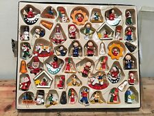 48 Vintage Wooden Hanging Christmas Tree Decorations, German