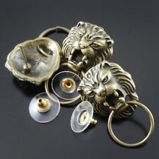 16pcs Vintage Bronze Tone Cool  Lion Head Earring Stud Jewelry Finding 34813