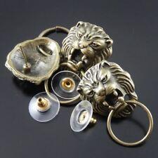 16pcs Vintage Bronze Tone Cool  Lion Head Earring Stud Jewelry Finding 34813