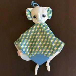 Booginhead Baby Elephant Teether Security Blanket Lovey Boogin Head Blue Green