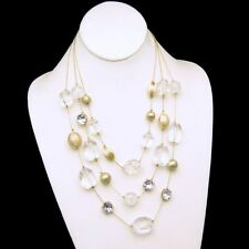 Vintage 3 Strand Chunky Necklace Lucite Faux Crystal Beads Matte Gold Plated