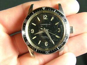 Vintage 1966 Caravelle Sea Hunter Devil Diver Watch 666ft M6 11DP Time Keeper