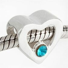 Heart Shaped Charm Bead 925 Sterling Silver