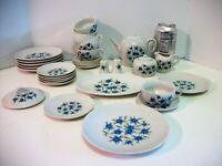 Vtg Child's Tea Set 30+ pcs  Blue Floral Design Made in Japan S & P Serving Pcs