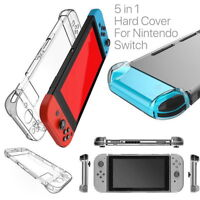 5-in-1 Whole Set Shockproof Hard Protective Clear Case Cover For Nintendo Switch
