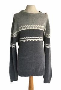 "GANT Men's Grey & Cream Jumper Knit Wool Size XL Casual Winter Chest 48"""