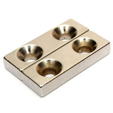 Strong Block Countersunk Magnet N35 30x10x5 mm 2 Hole 4mm Rare Earth Neodymium