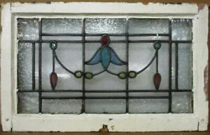 "OLD ENGLISH LEADED STAINED GLASS WINDOW TRANSOM Pretty Leaf & Drops 28"" x 17.5"""