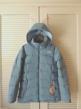 NORTH FACE FOSSIL RIDGE COOL BLUE HOODED 600 DOWN PUFFER PARKA,  MEDIUM ~NWT