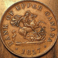 1857 UPPER CANADA DRAGONSLAYER HALFPENNY BANK TOKEN