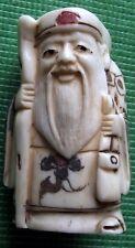 Superbe netsuke japonais main détaillé sculpté scrimshaw aîné & sac à main