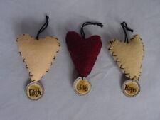 Sm Heart Valentine Ornament wTags Faith Hope Love 6pc Primitives by Kathy 12370