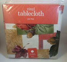 60 in. Round Vinyl Tablecloth Fall Theme Acorns & Leaves Orange, Tan, Green