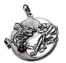 LOOK LARGE YIN YANG DRAGON TIGER REAL STERLING SILVER GARNET PENDANT CHARM JEWEL