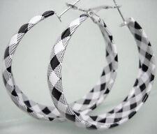 E1064 white& black charm circle hoop earrings fashion jewelry