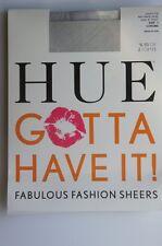 Hue Tights Sz 1 Chrome Grey Control Top Fine Check Sheer Nylon Sheers # 13507