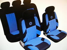 SEAT SKODA Universal Car Seat Covers Full Set Blue/Black Velour Fabric 14401